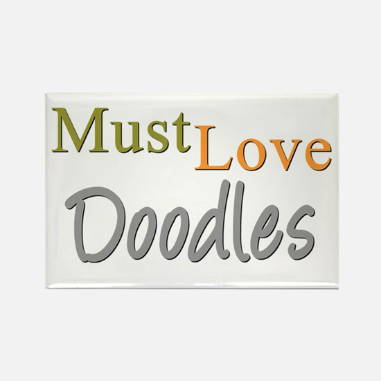 MUST LOVE Doodles Rectangle Magnet