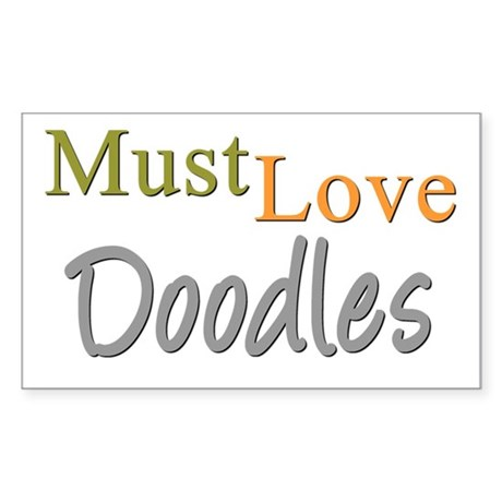 MUST LOVE Doodles Sticker (Rectangle)