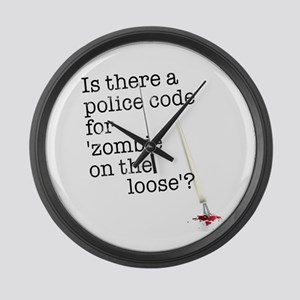 zombie on the loose Large Wall Clock