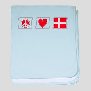 Peace, Love and Denmark baby blanket
