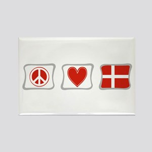 Peace, Love and Denmark Rectangle Magnet