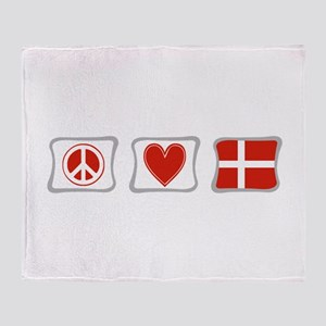 Peace, Love and Denmark Throw Blanket