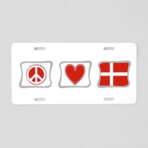 Peace, Love and Denmark Aluminum License Plate