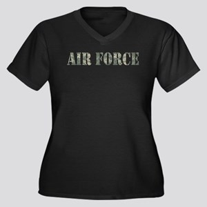 Air Force Camo Women's Plus Size V-Neck Dark T-Shi