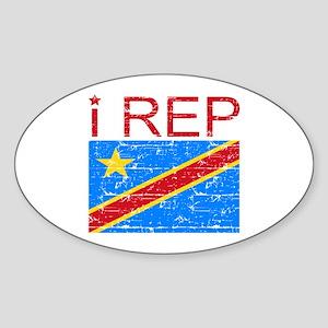I Rep Democratic Republican Sticker (Oval)