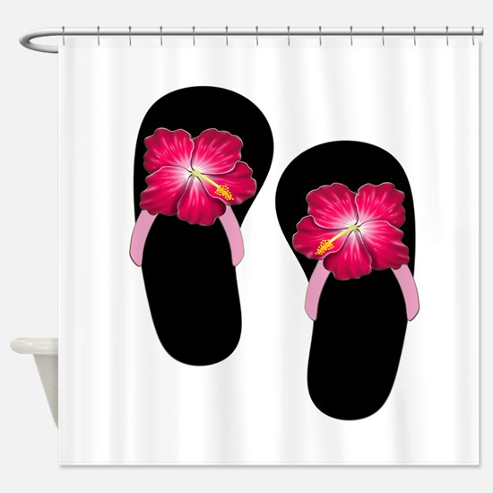 Pink Hibiscus Flip Flops.png Shower Curtain
