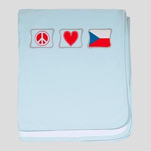Peace, Love & Czech Republic baby blanket