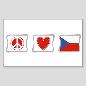 Peace, Love & Czech Republic Sticker (Rectangle)