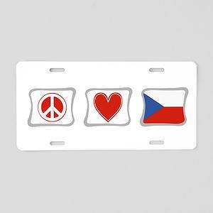 Peace, Love & Czech Republic Aluminum License Plat