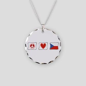 Peace, Love & Czech Republic Necklace Circle Charm