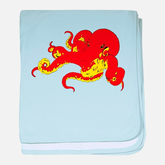 Red Octopus .png baby blanket
