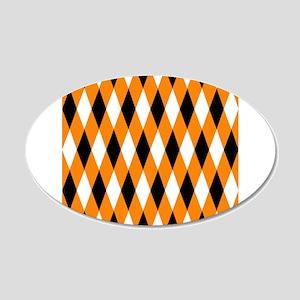 Black Orange White Diamonds 22x14 Oval Wall Pe