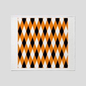 Black Orange White Diamonds Throw Blanket