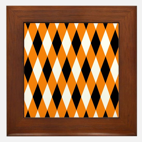 Black Orange White Diamonds.jpg Framed Tile