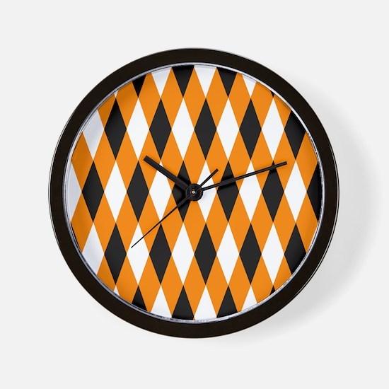 Black Orange White Diamonds.jpg Wall Clock