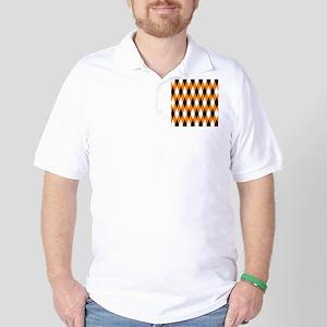 Black Orange White Diamonds Golf Shirt