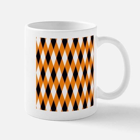 Black Orange White Diamonds.jpg Mug