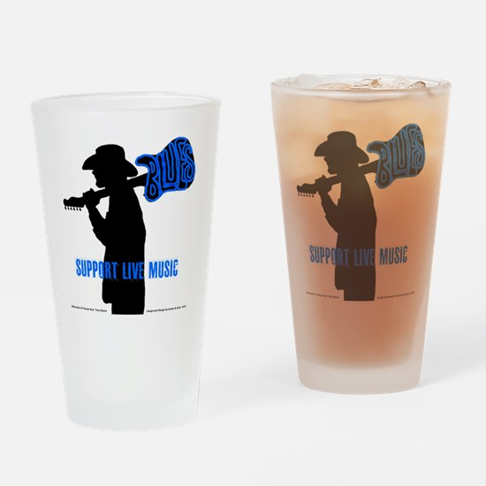 BLUES MAN - SUPPORT LIVE MUSIC Drinking Glass