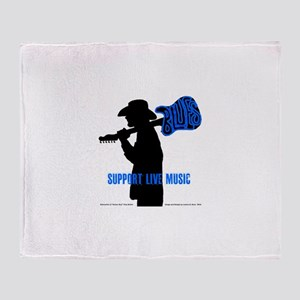 BLUES MAN - SUPPORT LIVE MUSIC Throw Blanket