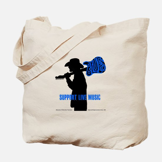 BLUES MAN - SUPPORT LIVE MUSIC Tote Bag