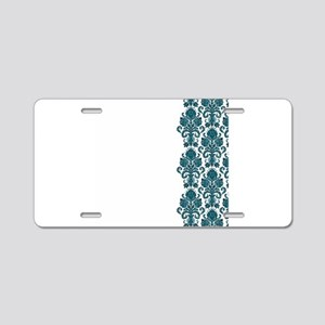 Aqua White Damask Aluminum License Plate