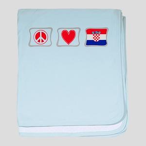 Peace, Love and Croatia baby blanket