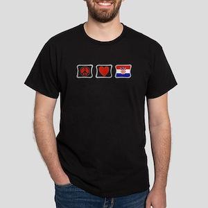 Peace, Love and Croatia Dark T-Shirt