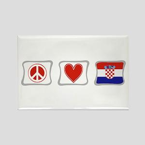 Peace, Love and Croatia Rectangle Magnet