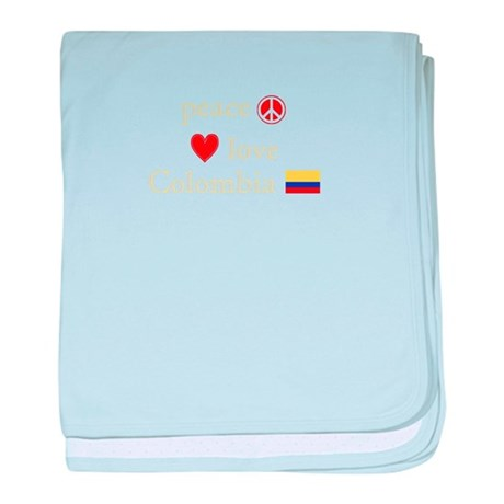 Peace, Love and Colombia baby blanket