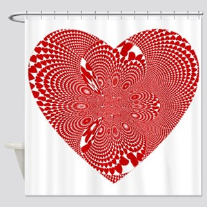 Wild Red And White Heart Shower Curtain