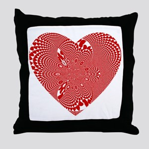 Wild Red And White Heart Throw Pillow
