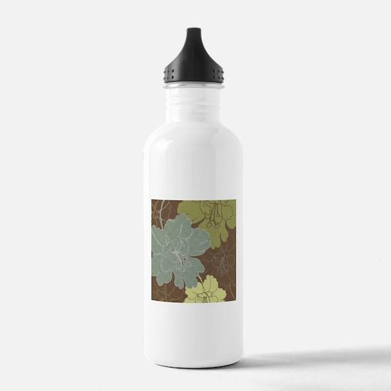Blue Brown Hibiscus.jpg Water Bottle