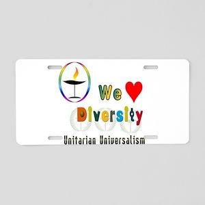 UU We Love Diversity Aluminum License Plate