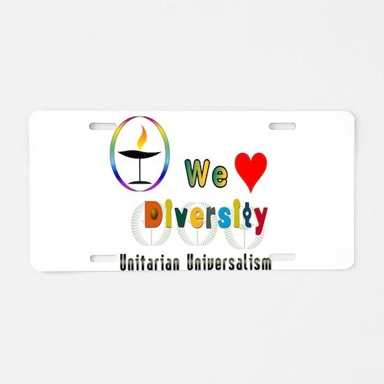 UU We Love Diversity.png Aluminum License Plate