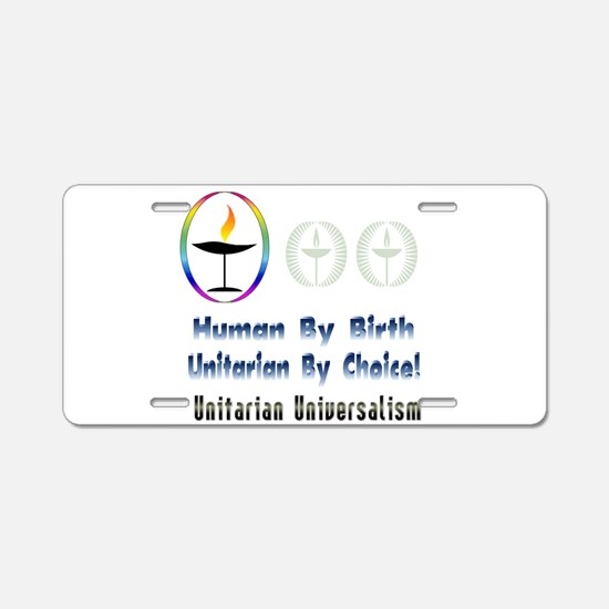 UU Unitarian By Choice.png Aluminum License Plate