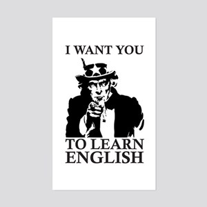 I Want You To Learn English Sticker (Rectangle)