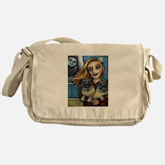 pug momma love Messenger Bag