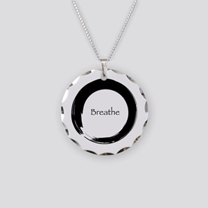 Enso with Breathe Necklace Circle Charm