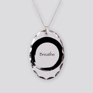 Enso with Breathe Necklace Oval Charm