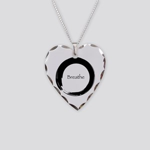 Enso with Breathe Necklace Heart Charm