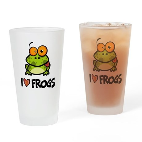 I Love Frogs Drinking Glass