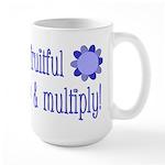Be fruitful and multiply! blue design Large Mug