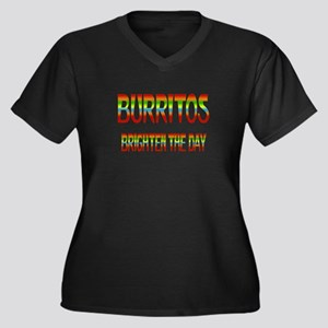 Burritos Brighten Women's Plus Size V-Neck Dark T-