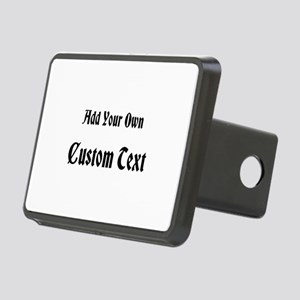 Black Custom Text. Rectangular Hitch Cover