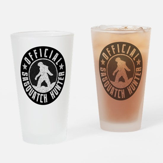 Sasquatch Hunter - White on Black Drinking Glass