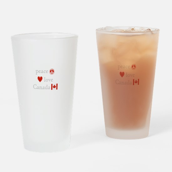 Peace, Love and Canada Drinking Glass