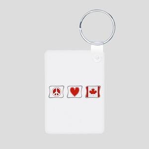 Peace, Love and Canada Aluminum Photo Keychain