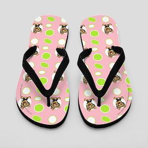 Yorkie Seeing Spots Pink Flip Flops