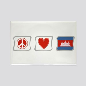 Peace, Love and Cambodia Rectangle Magnet