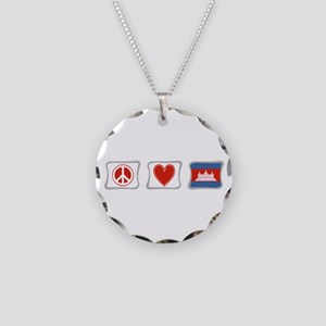 Peace, Love and Cambodia Necklace Circle Charm